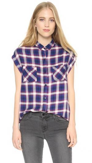 Рубашка Britt на пуговицах без рукавов RAILS. Цвет: кобальтовый/рубиновый