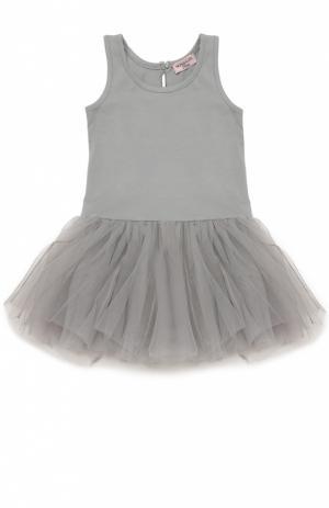 Платье джерси с пышной юбкой Monnalisa. Цвет: серый