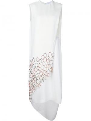 Декорированное платье с вырезными деталями Esteban Cortazar. Цвет: белый