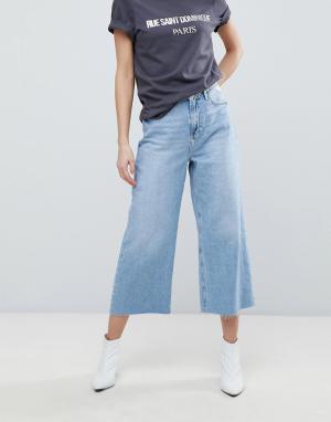 River Island Широкие укороченные джинсы. Цвет: синий
