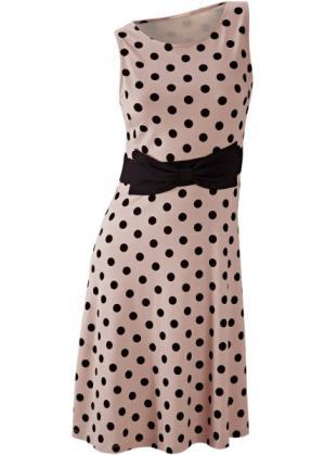 Летнее платье в горошек (светло-коричневый/черный) bonprix. Цвет: светло-коричневый/черный