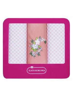 Платки нос. женские по 3шт. х/б ZLATA KORUNKA. Цвет: розовый