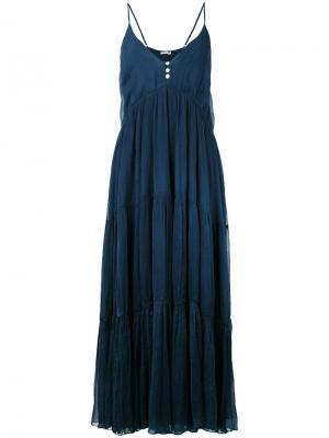 Длинное платье с V-образным вырезом Mes Demoiselles. Цвет: синий