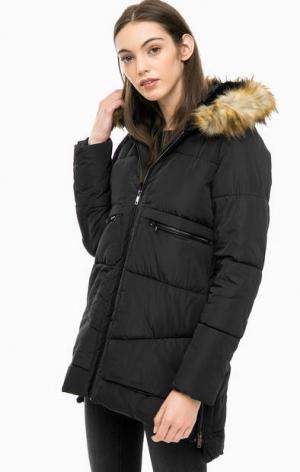 Черная утепленная куртка с капюшоном Kocca. Цвет: черный