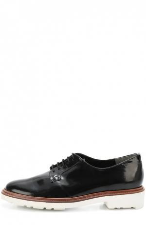 Лаковые ботинки на контрастной подошве ROBERT CLERGERIE. Цвет: черный