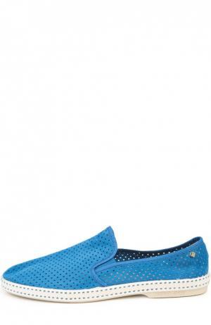 Эспадрильи из перфорированной замши Rivieras Leisure Shoes. Цвет: синий