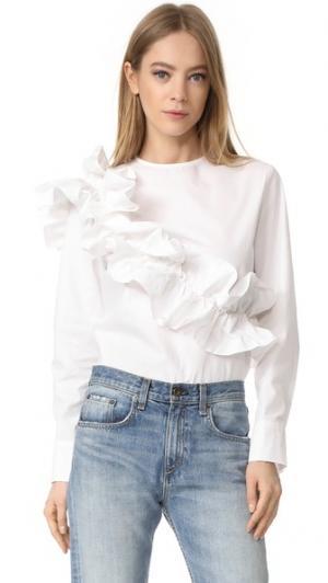 Блуза с оборками Style Mafia. Цвет: белый
