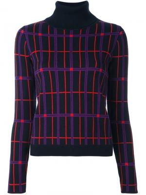 Пуловер с отворотной горловиной в клетку Carven. Цвет: синий