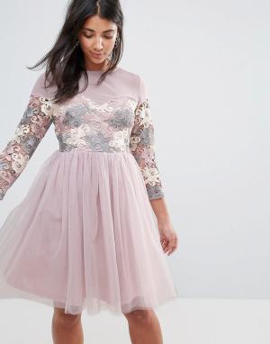 Amy Lynn Короткое приталенное платье с длинными рукавами, отделкой и юбкой из т. Цвет: темно-синий