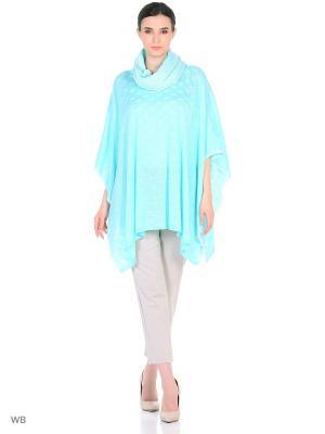 Пончо Veronika Style. Цвет: светло-голубой
