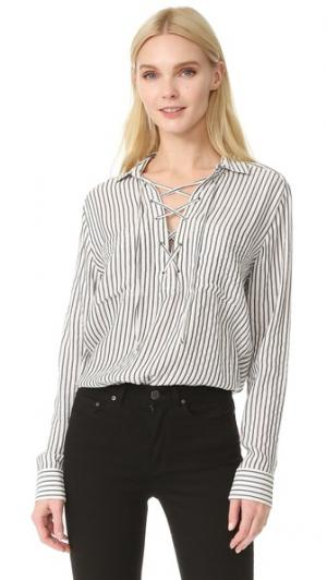Полосатая рубашка со шнуровкой The Kooples. Цвет: белый