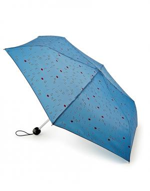 Зонт механический Буквы  by Fulton Lulu Guinness. Цвет: голубой