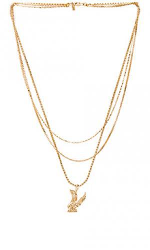 Ярусное ожерелье с подвесом орел lopes Vanessa Mooney. Цвет: металлический золотой