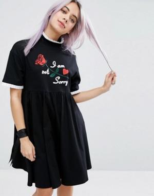 Lazy Oaf Платье-футболка с надписью I Am Not Sorry. Цвет: черный