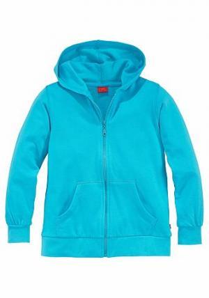Трикотажная куртка с капюшоном, CFL. Цвет: бирюзовый