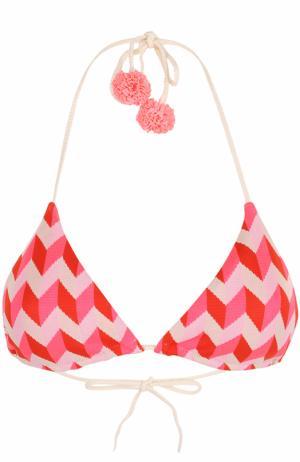 Треугольный бра с принтом и бантами Heidi Klein. Цвет: розовый
