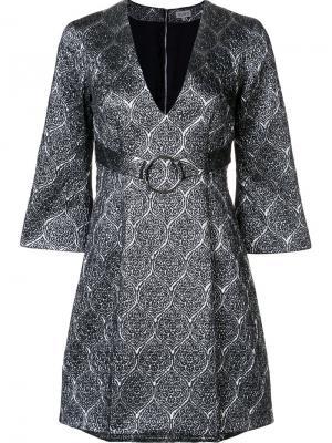 Мини-платье с V-образным вырезом Suno. Цвет: металлический