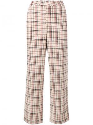Клетчатые брюки Duncan Ganni. Цвет: телесный