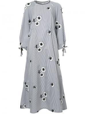 Полосатое платье с цветочной вышивкой Huishan Zhang. Цвет: синий