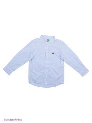 Рубашка United Colors of Benetton. Цвет: голубой, бледно-розовый