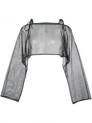 Сетчатая блузка с завязками Demoo Parkchoonmoo. Цвет: чёрный