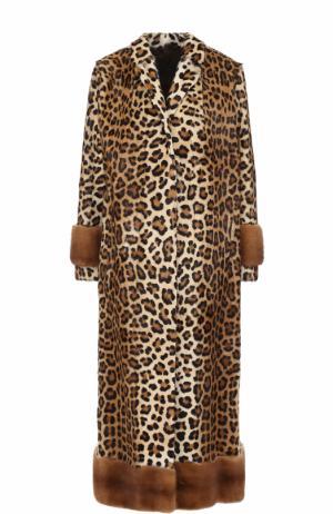 Удлиненная шуба из меха норки и козлика с леопардовым принтом Simonetta Ravizza. Цвет: леопардовый