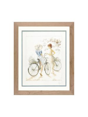 Набор для вышивания Meisjes op de fiets /Велосипедистки/ 39*49см Vervaco. Цвет: серый, коричневый, голубой