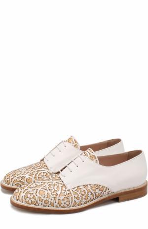 Кожаные ботинки с цветочным узором Oscar de la Renta. Цвет: белый