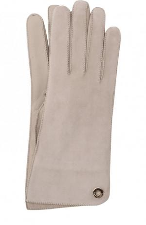 Перчатки Jacqueline из кожи и замши Loro Piana. Цвет: светло-серый