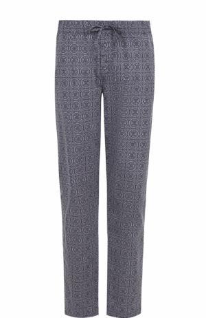 Хлопковые домашние брюки Hanro. Цвет: темно-синий