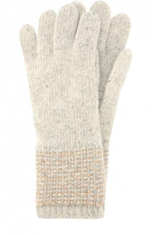 Перчатки из кашемира фактурной вязки Johnstons Of Elgin. Цвет: бежевый