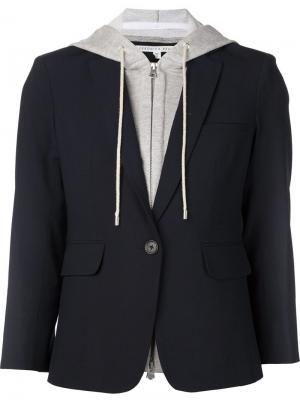 Пиджак с трикотажной вставкой Veronica Beard. Цвет: синий