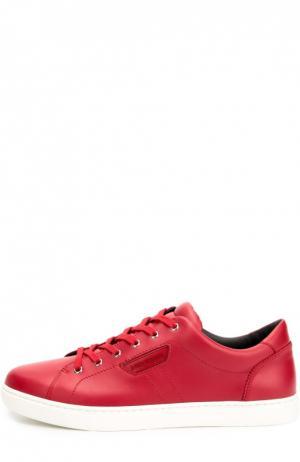 Кожаные кеды London на шнуровке Dolce & Gabbana. Цвет: красный