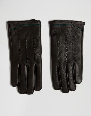 Ted Baker Кожаные перчатки. Цвет: черный