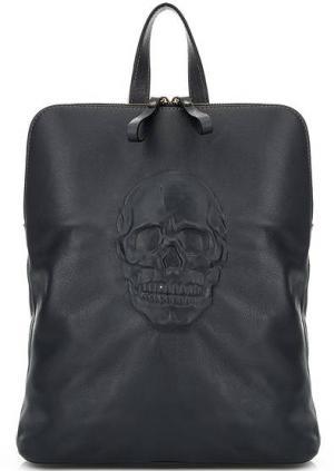 Сумка-рюкзак из натуральной кожи с тиснением Io Pelle. Цвет: синий
