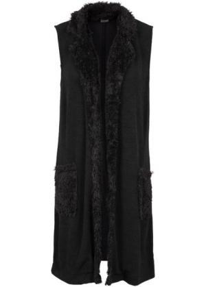 Удлиненный жилет с карманами (черный) bonprix. Цвет: черный