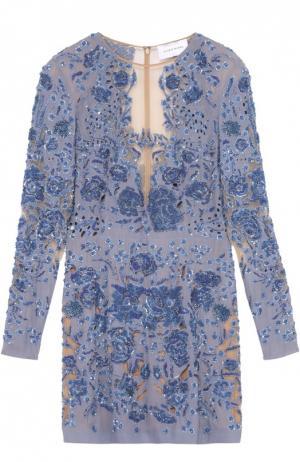 Платье-футляр с прозрачными вставками и цветочной вышивкой Zuhair Murad. Цвет: голубой