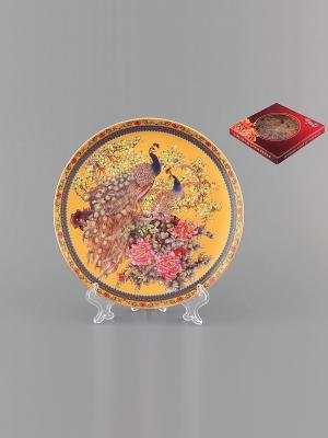 Тарелка декоративная Павлин Elan Gallery. Цвет: желтый, синий, коричневый, розовый