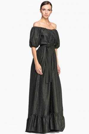 Платье с поясом 149243 Laroom. Цвет: черный