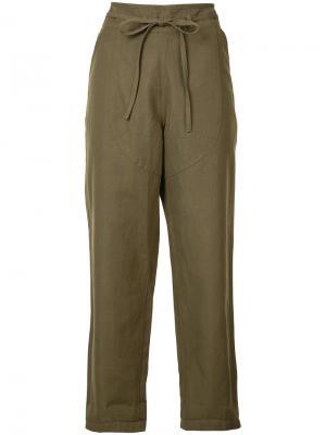 Укороченные брюки с поясом Ulla Johnson. Цвет: зелёный