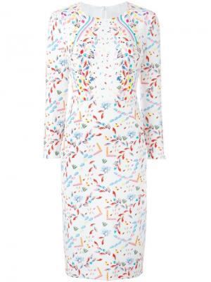 Платье с цветочным узором Peter Pilotto. Цвет: белый