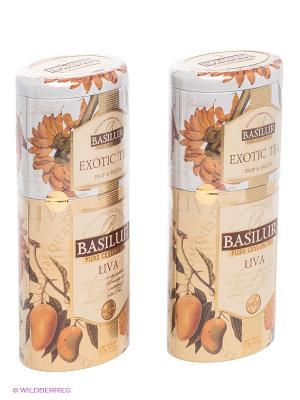 Набор  Чай Basilur 2 В 1 Ува - Экзотик/Uva FBOP Exotic Tea 125г.*2. Цвет: белый, оранжевый