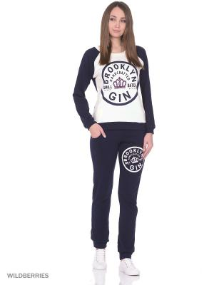 Костюм женский спортивный (джемпер, брюки) MARSOFINA. Цвет: молочный, темно-синий