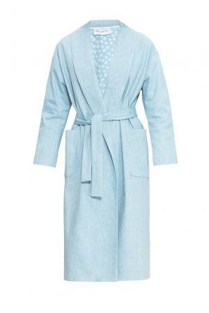 Пальто с поясом 163474 Private Sun. Цвет: синий