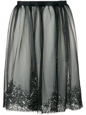 Многослойная тюлевая юбка с пайетками Loyd/Ford. Цвет: чёрный