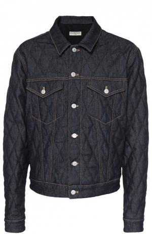 Стеганая джинсовая куртка с контрастной прострочкой Balenciaga. Цвет: темно-синий