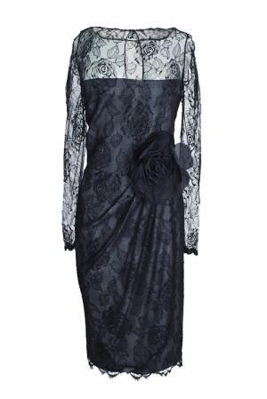 Платье из кружева с розой (80-е гг.) Bill Blass Vintage. Цвет: черный