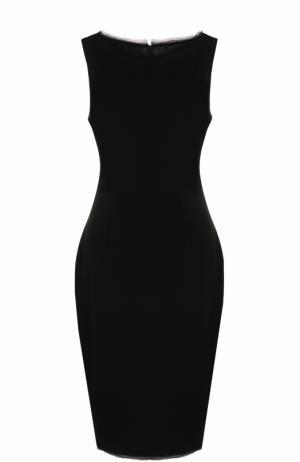 Приталенное платье-миди без рукавов St. John. Цвет: черный