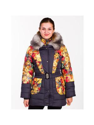 Куртка для девочки Цветы Пралеска. Цвет: серый, оранжевый