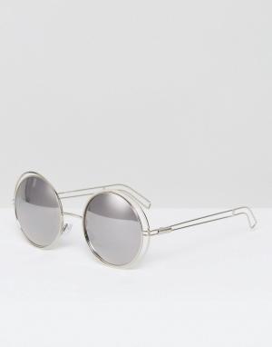 Missguided Круглые солнцезащитные очки в металлической оправе. Цвет: серебряный